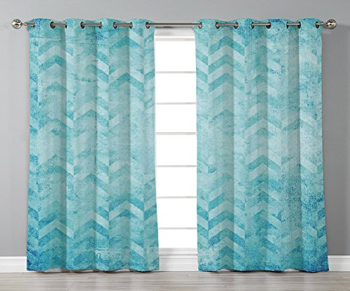 Satin Grommet Window Curtains,Turquoise Decor,Geometric Design Chevron Patterns on Old Vintage Paper Decorating Contemporary Art,Turquoise,2 Panel Set Window Drapes,for Living Room Bedroom Kitchen Caf