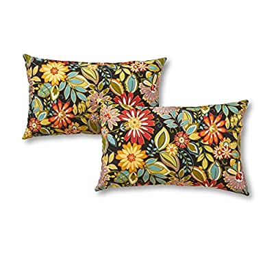 Greendale Home Fashions Rectangle Outdoor Accent Pillow (set of 2), Jungle - Set includes two 19 x 12 inch accent pillows 100% polyester, UV-resistant outdoor fabric Poly fiber fill made from 100-percent recycled, post-consumer plastic bottle - patio, outdoor-throw-pillows, outdoor-decor - 51%2BRKcMnkcL. SS400  -