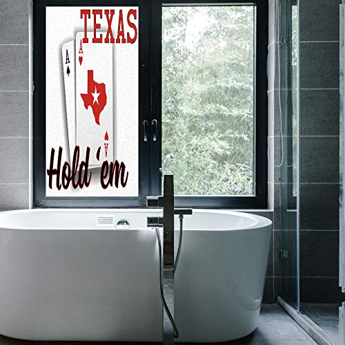 C COABALLA Stained Glass Window Film,Poker Tournament Decorations,for Bathroom Shower Door Heat Cotrol Anti UV,Texas Holdem Theme Pair of Aces with Map,24''x48''