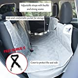 "Pet Car Back Seat Cover, 100% Waterproof, Fits Cars, Trucks & SUVs ~ 600D Quilted Oxford Polyester w/Zip Close, Seat Anchors & Storage Pocket, 55"" W x 57"" L, grey, w/ Bonus Dog Seat Belt by EFDOR"