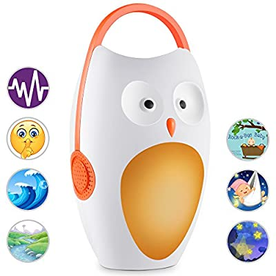 Sycces Portable Baby Sleep Soother, Lullaby/White Noise Sound Machine with Night Light for Home & Travel, Owl