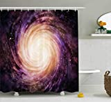 Galaxy Shower Curtain Set by Ambesonne, Large Pink and Purple Spiral Stardust Planet in Outer Space Science Fiction Print, Fabric Bathroom Decor with Hooks, 70 Inches, Black Pink Beige