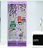 ADSRO Magnetic Mosquito Curtain, Soft Yarn Door Hanging Curtain-type Mosquito Net Heavy-duty Mesh Curtain Anti-mosquito, Toddler and Dog Friend, No Tool Required size 100x210cm (Purple)