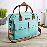 Fit & Fresh Margene Messenger Style Lunch Bag for Women, Insulated Tote for Travel, Work, School, Aqua
