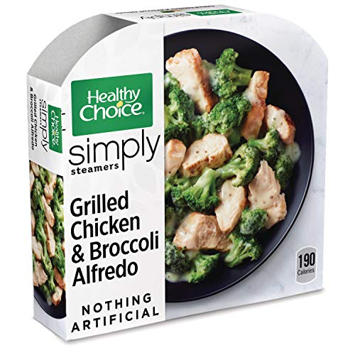 - Healthy Choice Simply Steamers Frozen Dinner, Grilled Chicken & Broccoli Alfredo, 9.15 Ounce