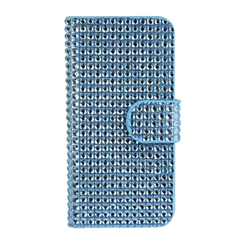 Tonsee(TM) Luxury Shiny Magnificent Bling Diamond Flip Wallet Leather Case Cover for Iphone 5 5s 5th (Blue)