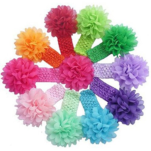 FEITONG(TM) 10 Pieces Babys Headbands Girls Headband Chiffon Flower Hair Bow + 1 PC Cute Headband (Chiffon Doll Baby)