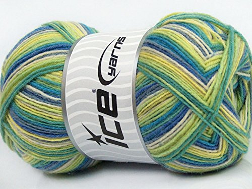 - (1) 100 Gram Blues Magic Sock Blues, Greens, Yellow, White Self-Striping Machine Washable Sock Yarn