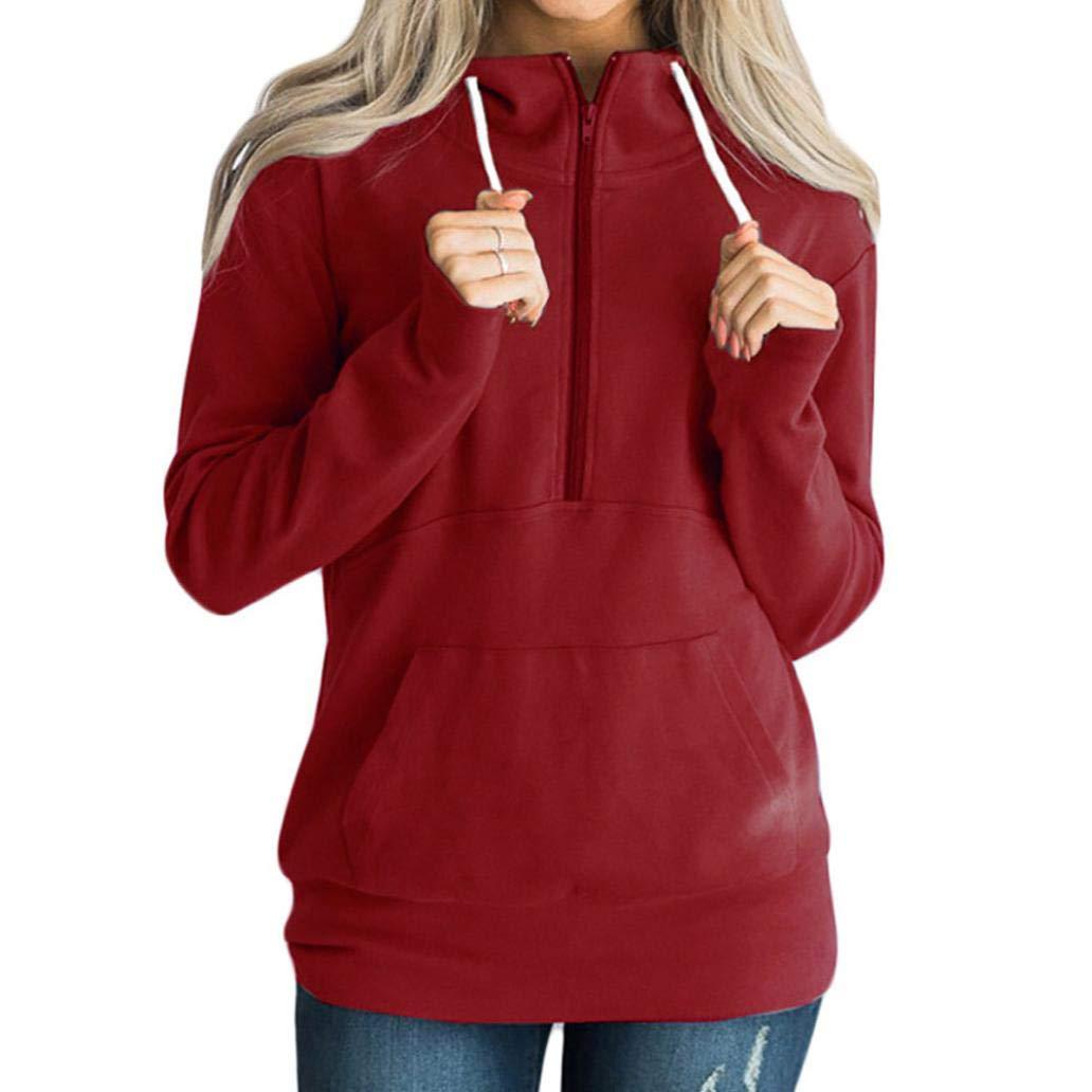 Opeer Hoodies Women Casual Solid Zipper Long Sleeve Sweatshirt Jumper Pullover Blouse (3XL(US:16), Wine)