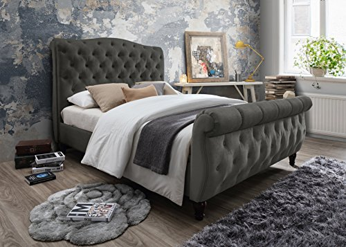 Furniture World Monet Upholstered Sleigh Bed with Tufted Headboard and Footboard, Full, Gray (King Single Upholstered Bed Head)