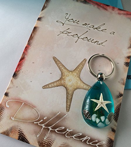 Smiling Wisdom - Blue Real Starfish Key Ring Chain - You Make a Profound Difference Greeting Card Gift Set - Appreciation & Encouragement Teacher, Caregiver, Man, Woman - Starfish Story - (Starfish Story Gifts)