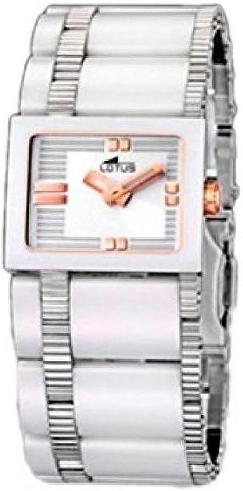 Lotus 15597/2 - Reloj analógico de mujer de cuarzo con correa de cerámica blanca - sumergible a 30 metros