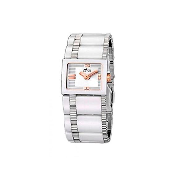 Lotus 15597/2 - Reloj analógico de mujer de cuarzo con correa de cerámica blanca