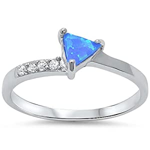 Cute Triangle Created Blue Opal & Cubic Zirconia .925 Sterling Silver Ring Sizes 5-10