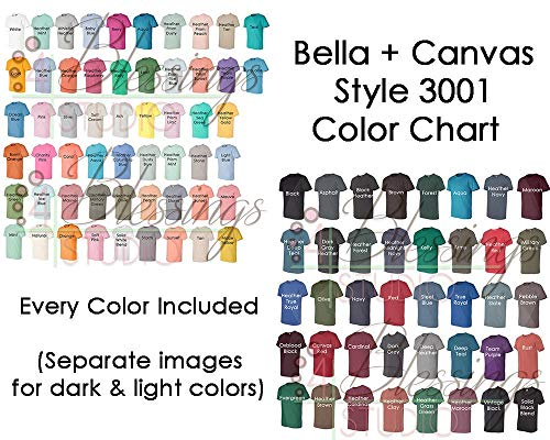 TONGGIANG - Bella Canvas 3001 Color Chart Every Color Digital File Shirt Color Chart Bella and Canvas Unisex Jersey Colors Tshirt Light Dark