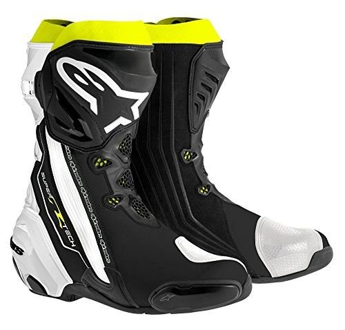 Alpinestars Supertech R Men's Street Motorcycle Boots - Black/White/Yellow / 43