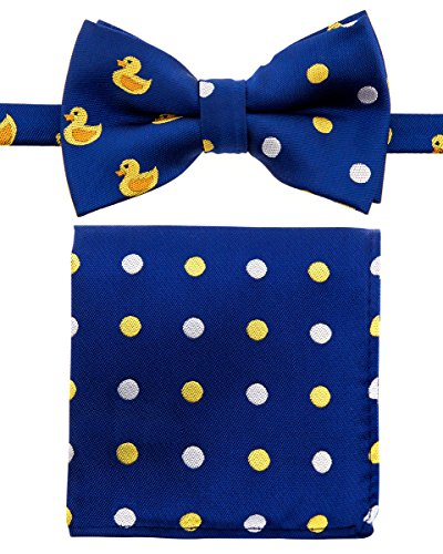 Canacana Rubber Duck Woven Microfiber Pre-tied Boy's Bow Tie with Polka Dots Pocket Square Gift Box Set - Dark Blue - 24 months - 4 years, Christmas gift