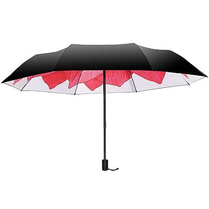 AFCITY Mujer Hombre Paraguas Viaje Sombrilla para Mujer Sombrilla para Exterior con sombrilla Sombrilla para Mujer