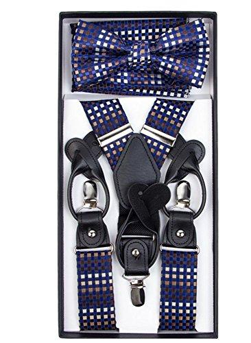 Formal Contemporary Plaid Check Convertible Suspenders Pre-tied Bow Tie & Hankie Set