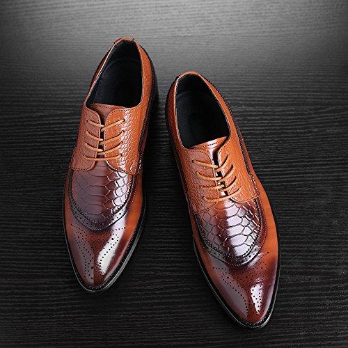 WZG trajes de negocios lazo de los hombres zapatos hombres señalaron Bullock tallada zapatos de cuero zapatos de boda Yellow