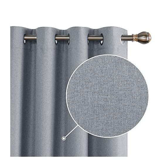 Deconovo Complete Blackout Curtains Faux Linen Thermal Insulated Room Darkening Energy Saving Noise Reduction Grommet Draperies for Small Window Grey 52W x 54L Inch Set of 2 - Available in 5 different colors and 6 sizes options(52x45 inch, 52x54 inch, 52x63 inch, 52x72 inch, 52x84 inch, 52x96 inch). Please select the appropriate products according to your requirements. Deconovo faux linen blackout curtains are made from 100% high quality polyester fabric, imported. These blackout curtains with coating layer, faux linen fabric and a thin layer of fabric was added to the back of the coating, so as to enhance their blackout and insulating functinons. Deconovo total blackout curtains are soundproof, so it can reduce noise and offer you a real dark envirnment and bring you a good sleep during the day time and night. - living-room-soft-furnishings, living-room, draperies-curtains-shades - 51%2BRMtl%2B82L. SS570  -