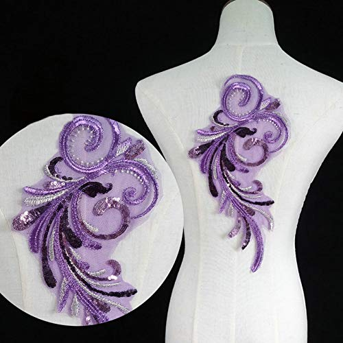 (2 Pcs Sequined Wing Beaded Embroidered Patches for Dress Handmade Sew on Accessories DIY Clothes Sequin Applique (Violet))