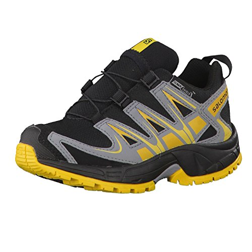 Salomon 2015/16 Kid's XA Pro 3D CSWP K Trail Running Shoes - L37843400 (Black/Grey/Bee-X - 11K)