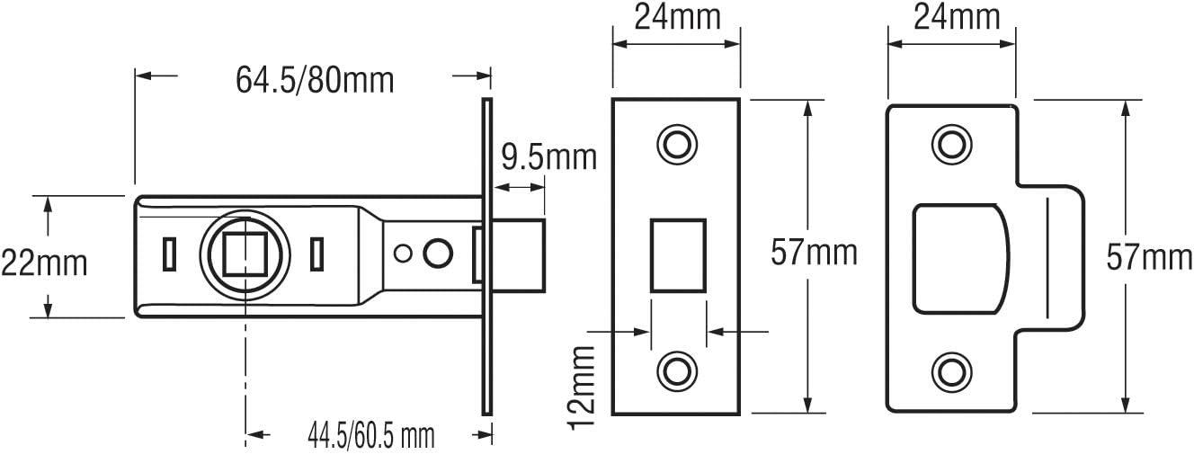Pestillo para puertas tama/ño: 64mm, pack de 1 Yale Locks YALPM888PB25