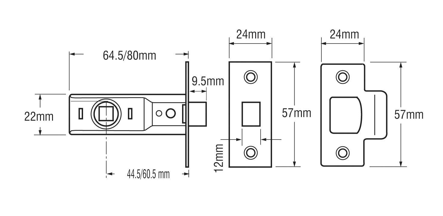 Yale Locks 3PM888CH2 Loquet /à mortaiser Chrome 64 mm Lot de 3 Import Grande Bretagne