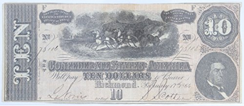- 1964 $10 Confederate Richmond Note #63