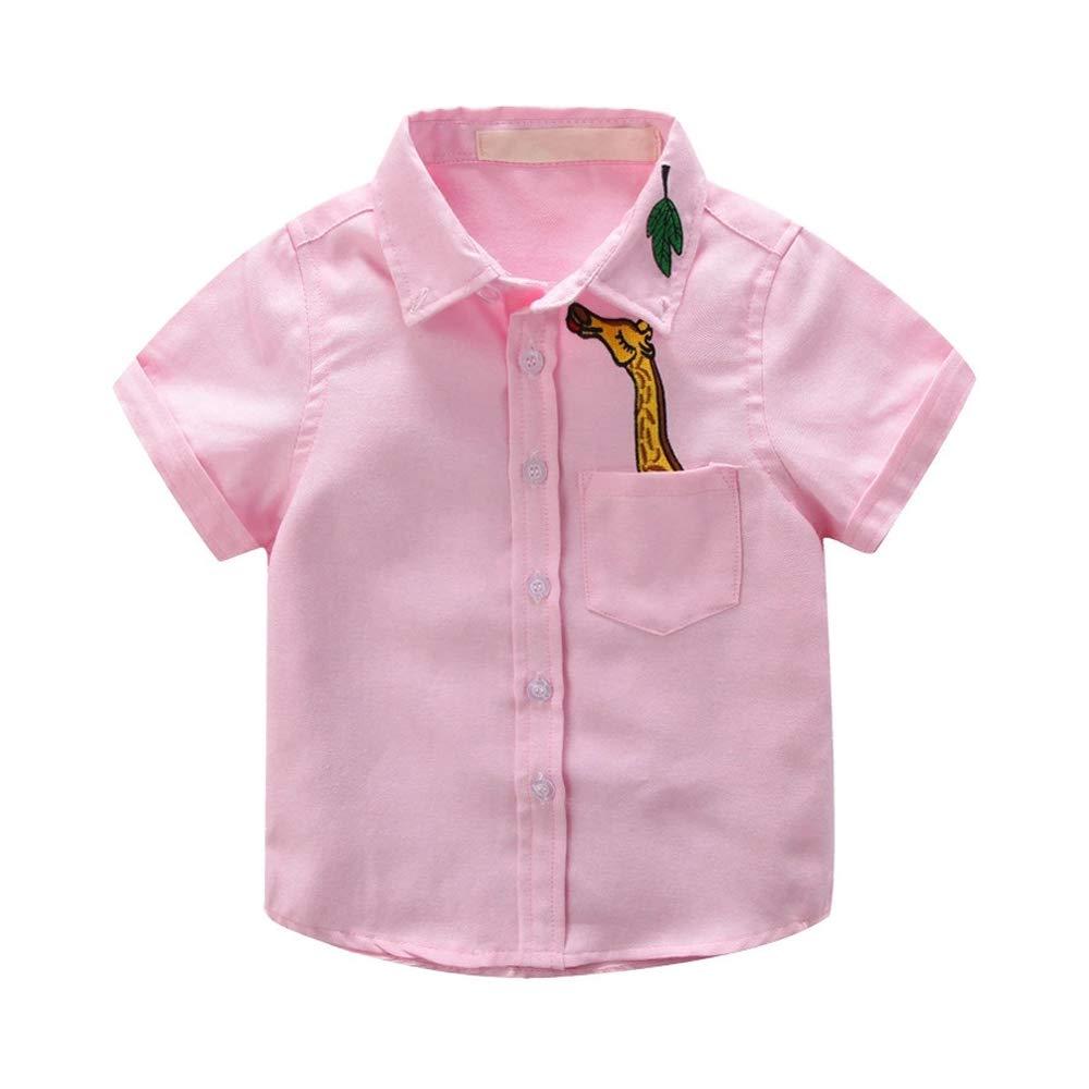 Little Big Boys Cute Giraffe Short Sleeve Button Down Shirt