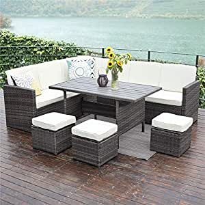Wisteria Lane Outdoor Patio Furniture Set 10 Pcs Sectional Conversation Set All Weather Wicker Sofa Table Chair Stool Grey