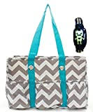 Chevron Print Quilted Tote Bag-AQUA