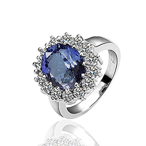 Womens Classic Flower Engagement Rings Inlay Bule Cubic Zirconia - Matthew L. Garcia