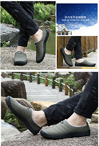 SPEEDEVE Winter Warm Slippers Fur Lined Anti Slip Cotton Shoes House Slippers Indoor Outdoor Slippers for Women Men Gray SuN4jz