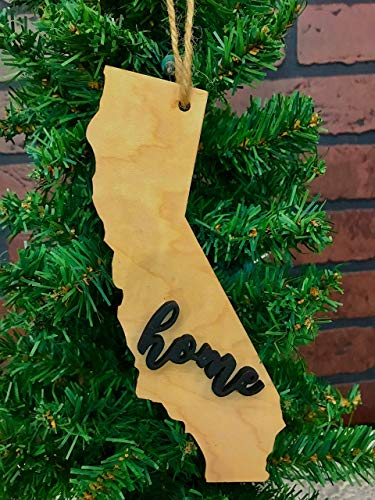 California State Natural Wood Ornament Keepsake Decoration Holiday Gift Home Ornie Party Favor