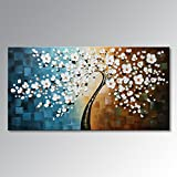 Winpeak Art Large Handmade Plum Tree Blossom Modern Canvas Flower Artwork Contemporary Abstract Floral Paintings on Canvas Wall Art for Home Decorations Wall Decor Stretched and Ready to Hang