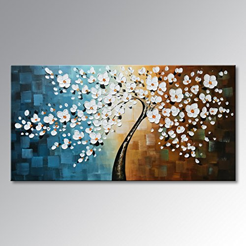 Winpeak Art Large Handmade Plum Tree Blossom Modern Canvas Flower Artwork Contemporary Abstract Floral Paintings on Canvas Wall Art for Home Decorations Wall Decor Stretched and Ready to Hang by Winpeak Art