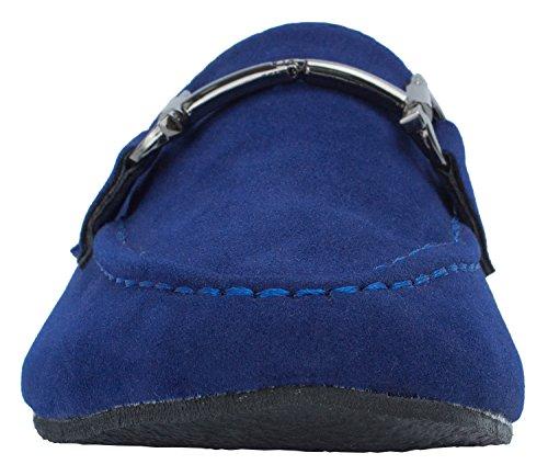 Faux Suede Classic Horsebit Loafer Mocasín Azul Marino Para Mujer
