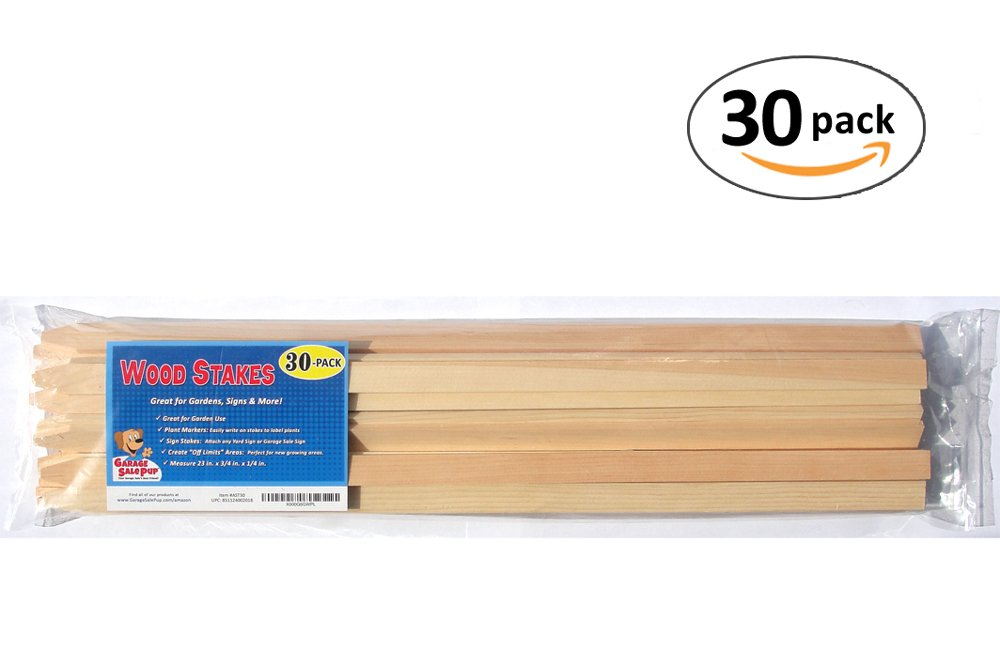 30 Pack 23'' Wood Stakes for Garden or Sign Posting by Garage Sale Pup (Image #2)