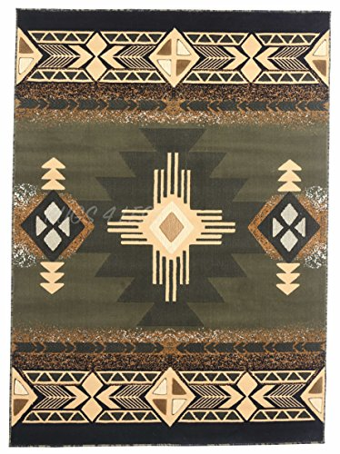 Rugs 4 Less Collection Southwest Native American Indian Area Rug Design R4L 318 Olive Green, Sage Green (5'X7') ()
