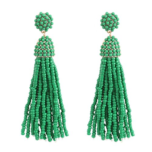 NLCAC Women's Beaded tassel earrings Long Fringe Drop Earrings Dangle 6 Colors (dark green) Green Colour Beads Earrings