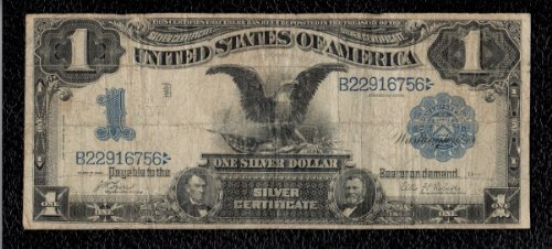 One dollar 1899 series black eagle silver (1899 Silver Certificate)