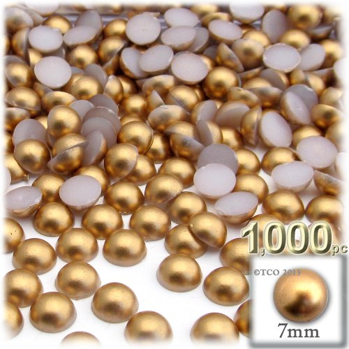 1,000pc Pearl finish Half Dome Beads, Round, 7mm, Golden Caramel Brown (Medium Finish Caramel)