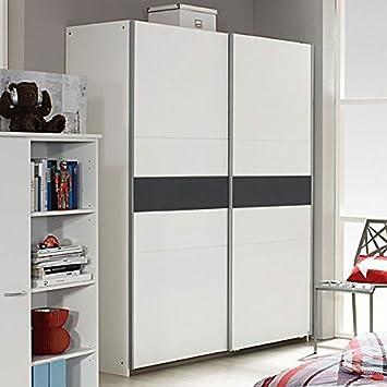 Schwebetürenschrank weiß / grau 2 Türen B 175 cm Schrank ...