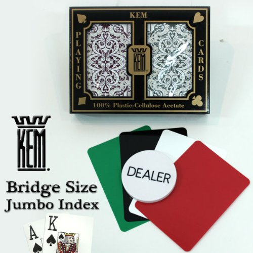 Kem Jacquard Burgundy/green Bridge Size Jumbo Index 100% Plastic Playing Cards with Free Dealer Button, 4 Free Cut Cards and Replacement Request Form