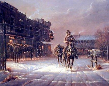 Western Cowboy Arrival in Dodge City Wall Decor Art Print
