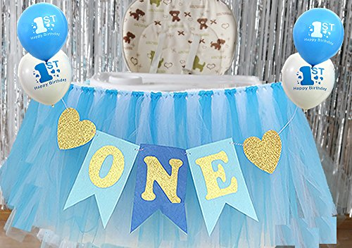 Alemon Blue 1st Birthday Boy Baby High Chair Tutu Decoration and ONE Pennant Party Supplies for Highchair -