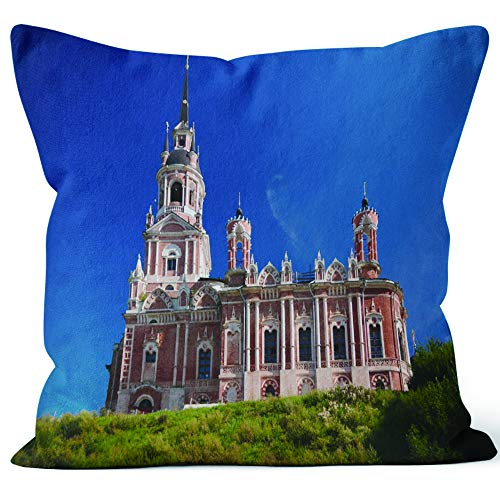 Exterior View Novo Nikolsky Cathedral in Mozhaysk Kremlin Throw Pillow Cushion Cover,HD Printing Decorative Square Accent Pillow Case,18