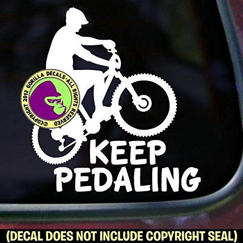 KEEP PEDALING Mountain Biker Biking Vinyl Decal Sticker F
